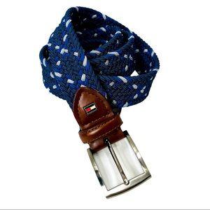 Tommy Hilfiger Men's Blue Woven Stretch Belt Large